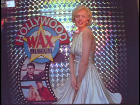 A Diorama Of Marilyn Monroe Decorates The Hollywood Wax Museum stock footage