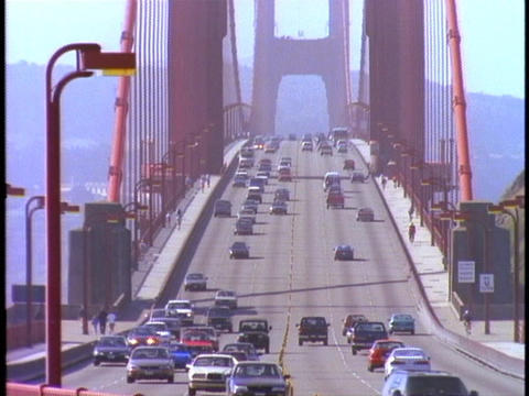 Traffic drives over the Golden Gate Bridge Footage