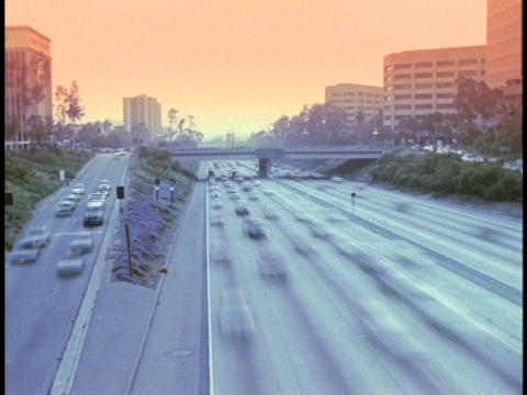 Traffic merges onto a freeway Stock Video Footage
