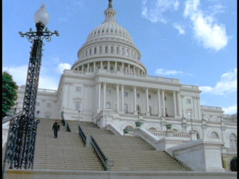 Stairs lead up to the US Capitol Building Footage