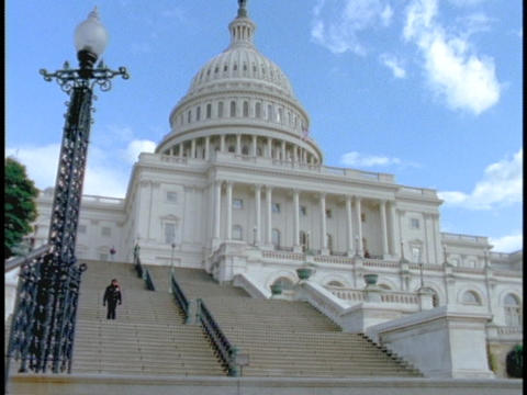 Stairs lead up to the US Capitol Building Stock Video Footage