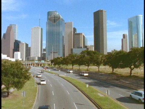 A freeway leads into downtown Houston Footage