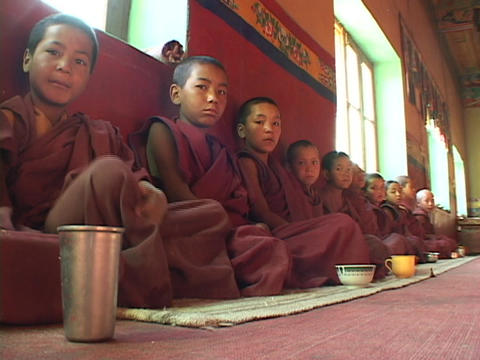 Buddhist boys at a monastery sit in a long row Footage