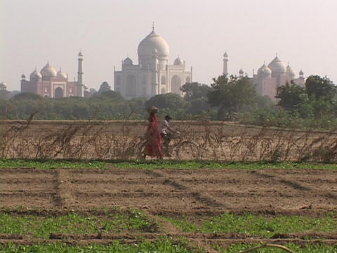 The Taj Mahal rises behind farms Footage