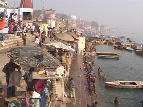 People bathe in the Ganges river Stock Video Footage