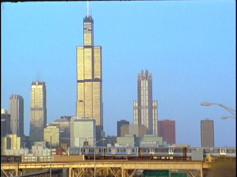 The Chicago, Illinois, El Train passes in front of the Sears Tower Footage