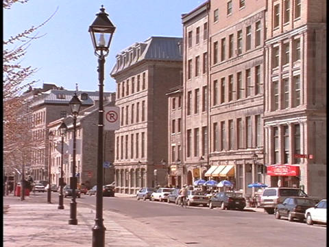 Lampposts line a street in Montreal Stock Video Footage
