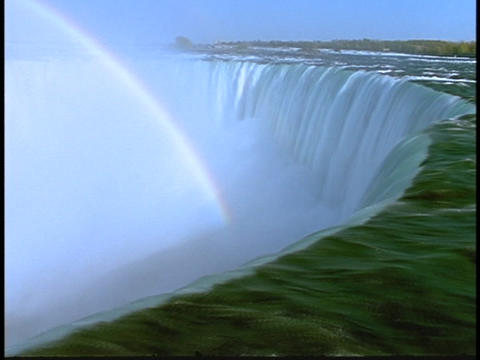 A rainbow arcs over Niagara Falls Footage