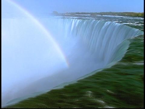 A rainbow arcs over Niagara Falls Stock Video Footage