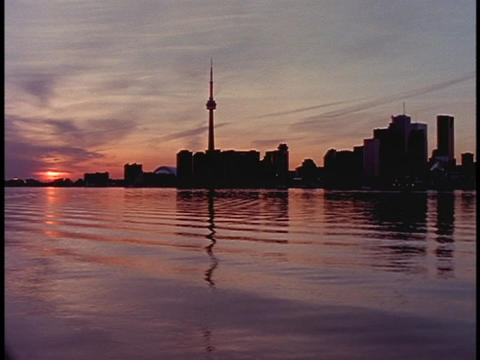A low sun tints the Canadian sky pink Footage