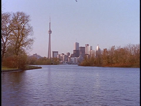The CN tower stands in the skyline behind a lake in Canada Stock Video Footage