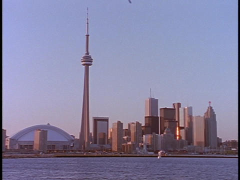 The CN Tower stands in the Toronto skyline Footage