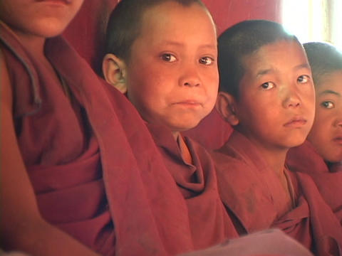 Buddhist boys sit in a row Footage