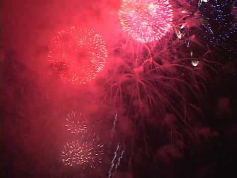 Fireworks light up the night sky Stock Video Footage