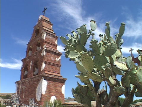 A cactus stands beside a bell tower at an old Catholic mission Footage