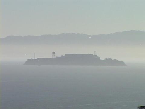 Fog surrounds Alcatraz Island Stock Video Footage