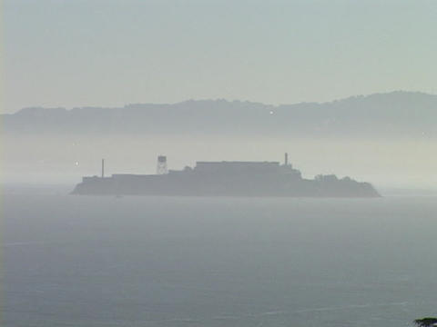Fog surrounds Alcatraz Island Stock Video Footage