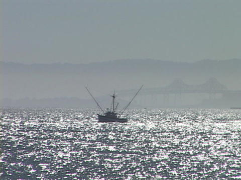 A commercial fishing boat travels on sparkling water Live Action