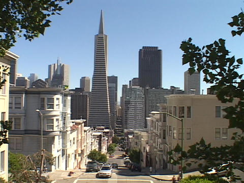 Houses stand in a neighborhood near downtown San Francisco, California Footage
