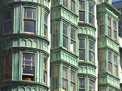 A window sits open in a Victorian style building in San... Stock Video Footage