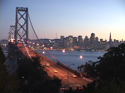 Cars cross the Bay Bridge in San Francisco Stock Video Footage