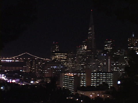 Lights glow on the San Francisco skyline Footage