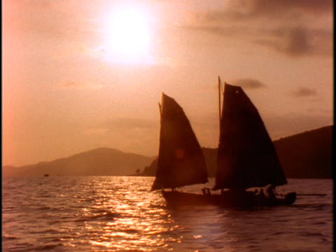 sailboats travel on the South China Sea Stock Video Footage