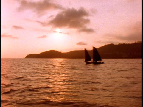 sailboats travel on the South China Sea Footage