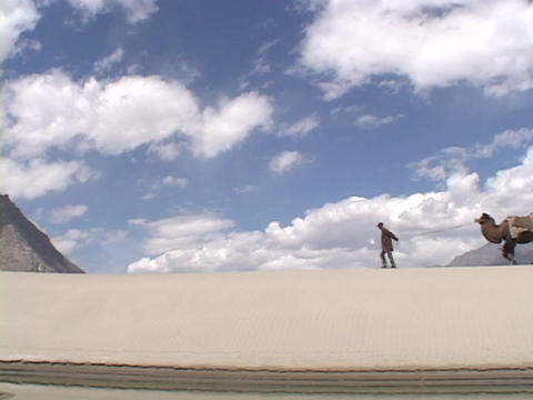 A man leads a camel across a sand dune Stock Video Footage