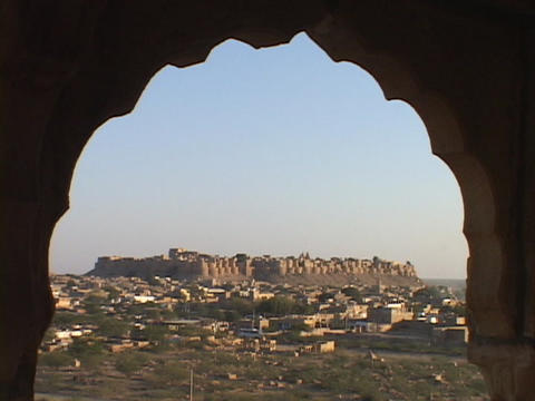 A window looks out at Jaisalmer Footage