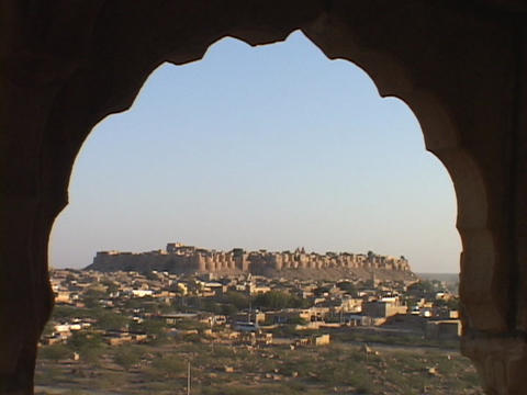 A window looks out at Jaisalmer Stock Video Footage