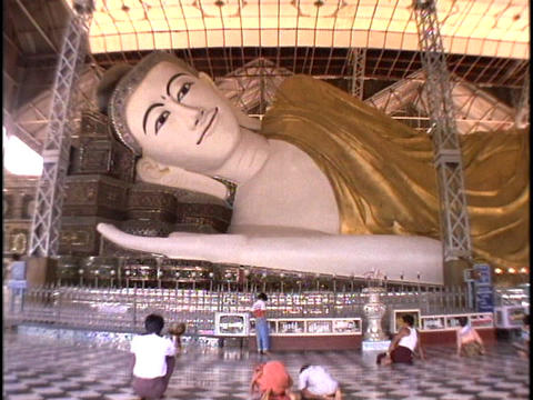 A giant Buddha relines in Burma, Myanmar Footage