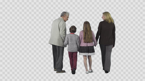 Grandfather and children with mother are walking from the camera Footage