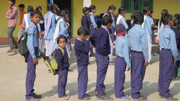 School boys lined up at school,Kushinagar,India Footage
