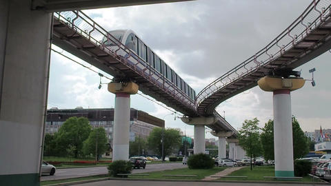 The Moscow monorail train in the area of Ostankino TV center Footage