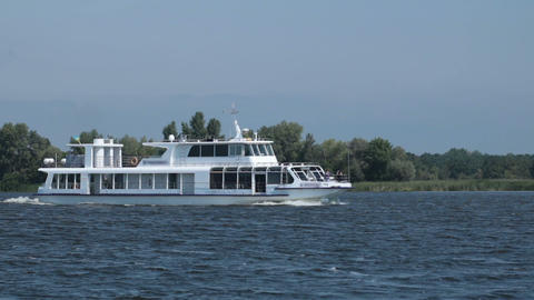 Pleasure cruise boat traveling the river Footage