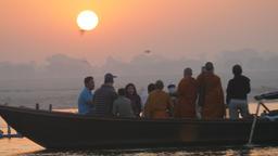 Rowing boats on Ganges at sunrise,Varanasi,India Footage
