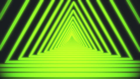 Bright white lines are crossing and forming neon triangle tunnel on black Footage