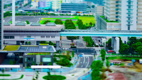 A timelapse of city street at the urban town like miniature in Ariake Tokyo Live Action