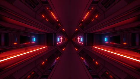 futuristic space sci-fi temple hangar tunnel corridor with nice reflections and Animation