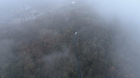 Top view of white truck driving on dangerous, misty forest road. Drone chasing ビデオ