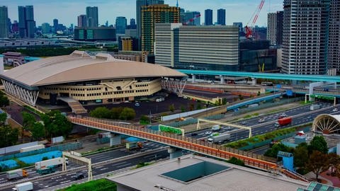 A timelapse of city street at the urban town in Ariake Tokyo daytime wide shot Live Action