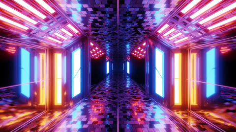 futuristic sci-fi hangar tunnel corridor with brocks textur and nice reflections Animation