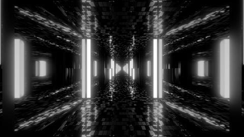 futuristic sci-fi hangar tunnel corridor with bricks texture and glass windows Animation