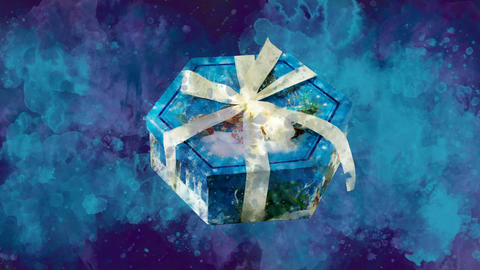 Watercolor Christmas decoration hexagon box on the background of colored blots GIF