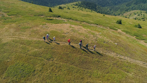 Balkan Mountains/Bulgaria - 27 08 2019: Group of hikers on top of the mountain Live Action