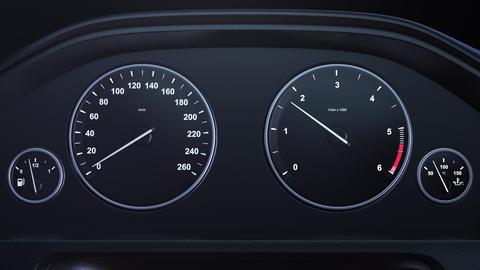 Car Speedometer Macroplane Gaining Speed Footage