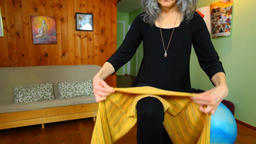 Pregnant women show birthing exercises Footage