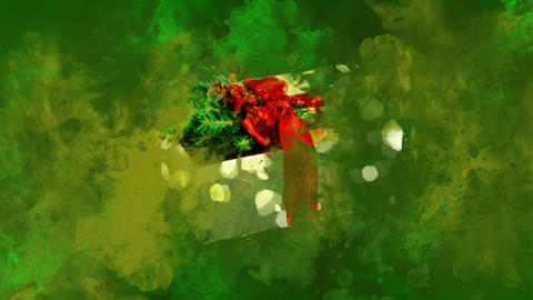 Watercolor Christmas decoration gold box on the back-ground of colored blots GIF