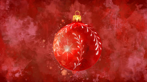Watercolor Christmas decoration red ball on the back-ground of colored blots Animation